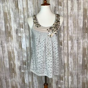 Anthro. Deletta Sprinkled Shell Tank in Gray Sz XS